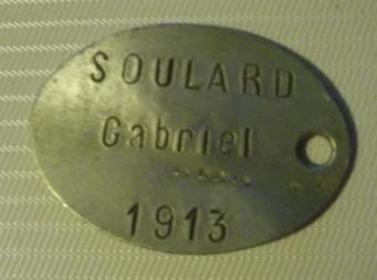 792 001 plaque d identite soulard gabriel 201eme ri prisonnier a soissons le 28 mai 1919